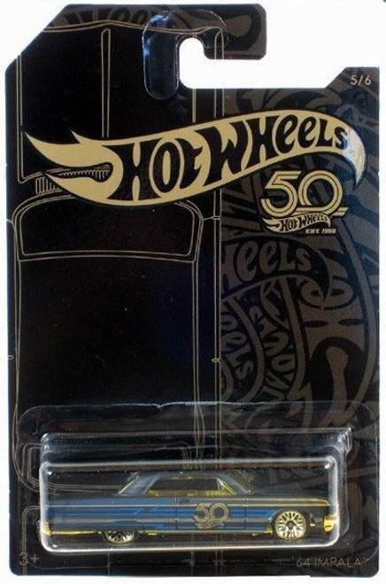 Hot Wheels 50th Anniversary Black & Gold '64 Impala Diecast Car