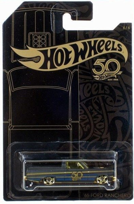 Hot Wheels 50th Anniversary Black & Gold '65 Ford Ranchero Diecast Car
