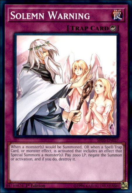 YuGiOh Wave of Light Structure Deck Common Solemn Warning SR05-EN037