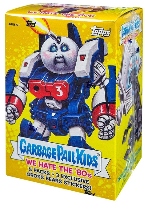 Garbage Pail Kids Topps 2018 We Hate the 80's Trading Card Sticker BLASTER Box [5 Packs, 3 Exclusive Gross Bears Stickers!]