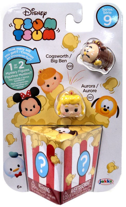 Disney Tsum Tsum Series 9 Cogsworth & Aurora 1-Inch Minifigure 3-Pack #930 & 921