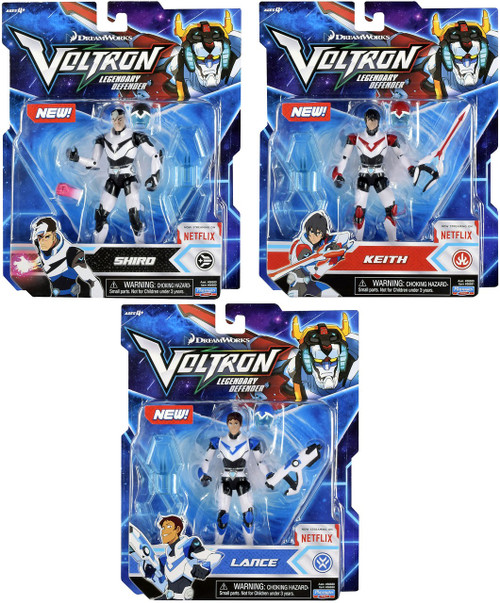 Voltron Legendary Defender Shiro, Lance & Keith Set of 3 Basic Action Figures [Black, Blue & Red Lion Pilot]