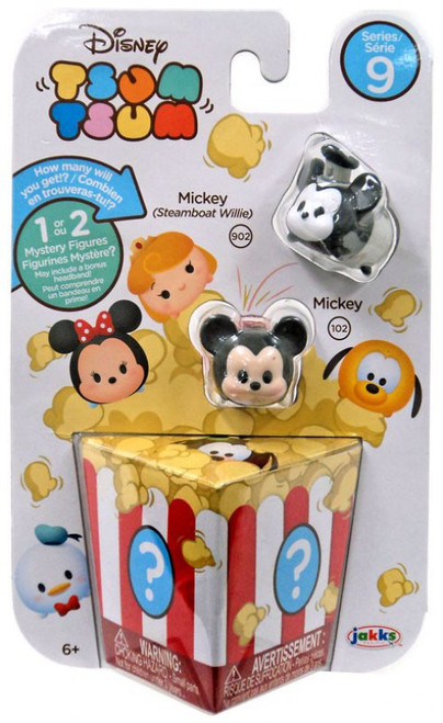 Disney Tsum Tsum Series 9 Mickey (Steamboat Willie) & Mickey 1-Inch Minifigure 3-Pack