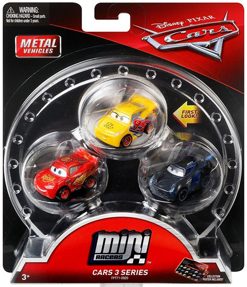 Disney / Pixar Cars Die Cast Mini Racers Rust-Eze Cruz Ramirez, Lightning McQueen & Jackson Storm Car 3-Pack