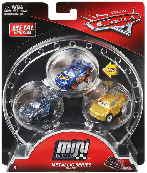 Disney / Pixar Cars Die Cast Mini Racers Metallic Fabulous Lightning McQueen, Metallic Jackson Storm & Metallic Cruz Ramirez Car 3-Pack