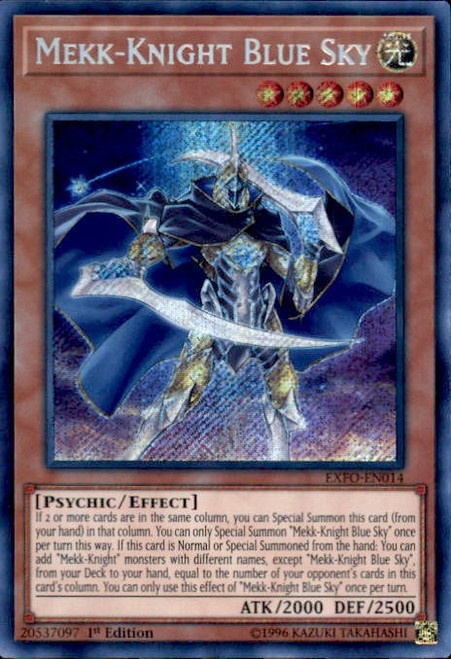 YuGiOh Extreme Force Secret Rare Mekk-Knight Blue Sky EXFO-EN014