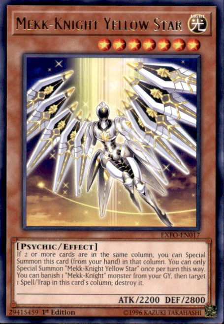 YuGiOh Extreme Force Rare Mekk-Knight Yellow Star EXFO-EN017