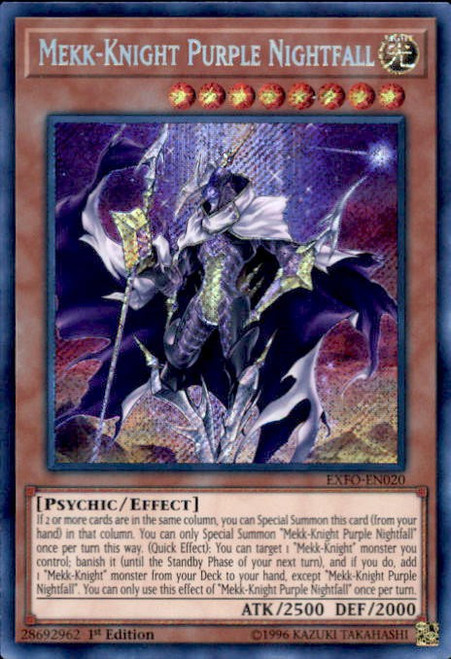 YuGiOh Extreme Force Secret Rare Mekk-Knight Purple Nightfall EXFO-EN020