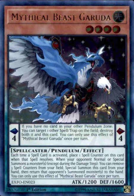 YuGiOh Extreme Force Ultra Rare Mythical Beast Garuda EXFO-EN023