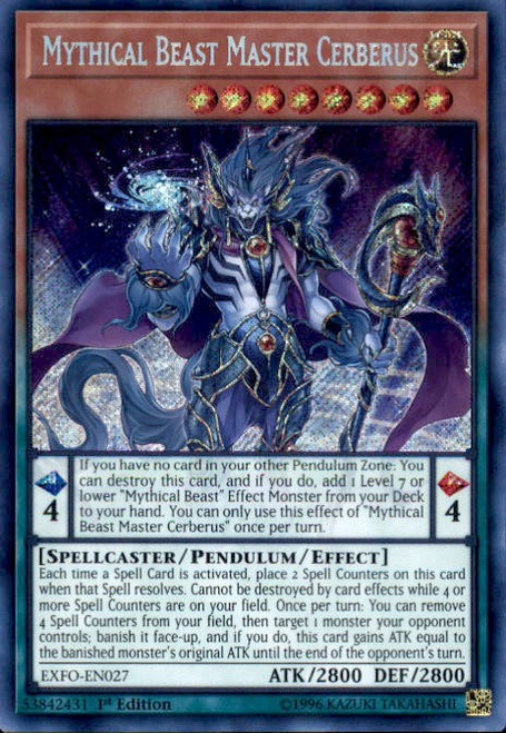 YuGiOh Extreme Force Secret Rare Mythical Beast Master Cerberus EXFO-EN027