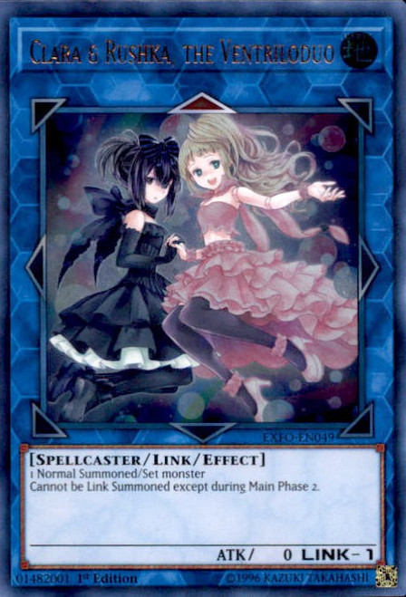 YuGiOh Extreme Force Ultra Rare Clara & Rushka, the Ventriloduo EXFO-EN049