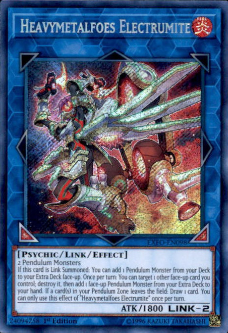 YuGiOh Extreme Force Secret Rare Heavymetalfoes Electrumite EXFO-EN098