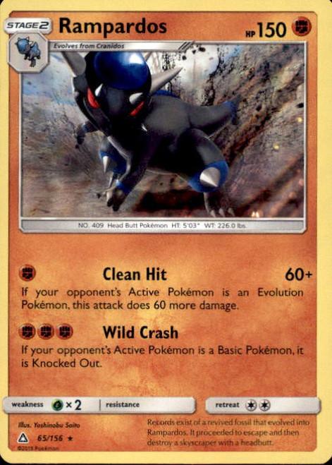 Pokemon Sun & Moon Ultra Prism Rare Holo Rampardos #65