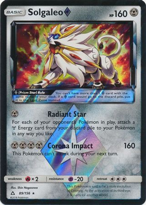 Pokemon Sun & Moon Ultra Prism Rare Holo Solgaleo Prism Star #89