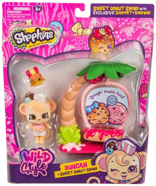 Shopkins Season 9 Wild Style Duncan & Sweet Donut Swing Theme Pack