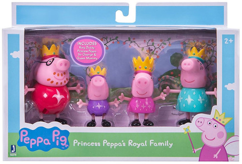 Peppa Pig Princess Peppa's Royal Family Figure 4-Pack [Peppa, Prince George, Queen Mommy & King Daddy]