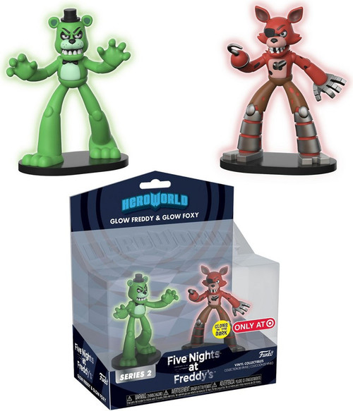 Funko Five Nights at Freddy's Hero World Series 2 Glow Freddy & Glow Foxy Exclusive 4-Inch Vinyl Figure 2-Pack