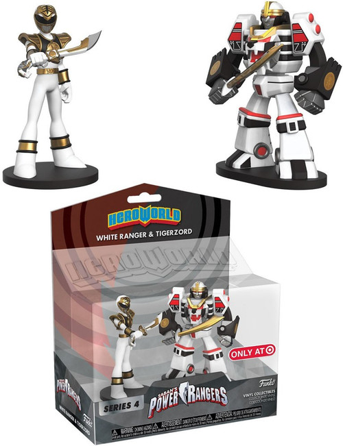 Funko Power Rangers Hero World Series 4 White Ranger & Tigerzord Exclusive 4-Inch Vinyl Figure 2-Pack