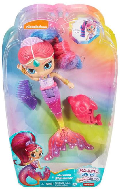 Fisher Price Shimmer & Shine Rainbow Zahramay Mermaid Shimmer 6-Inch Bath Doll