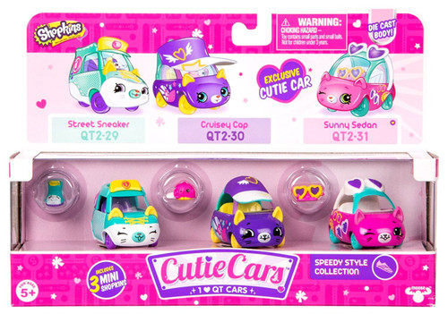 Shopkins Cutie Cars Speedy Style Figure 3-Pack #29, 30 & 31 [Street Sneaker, Cruisy Cap, Sunny Sedan]