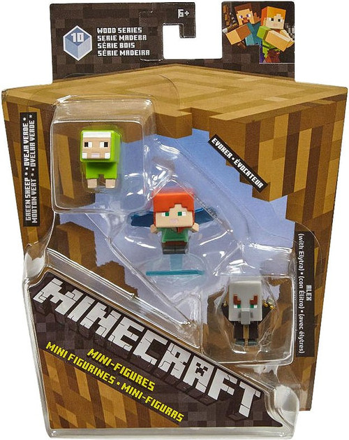 Minecraft Wood Series 10 Green Sheep, Evoker & Alex Mini Figure 3-Pack