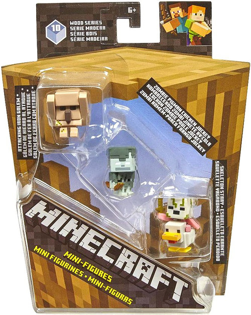 Minecraft Wood Series 10 Attacking Iron Golem, Zombie Pigman Chicken Jockey, & Skeleton Stray Mini Figure 3-Pack