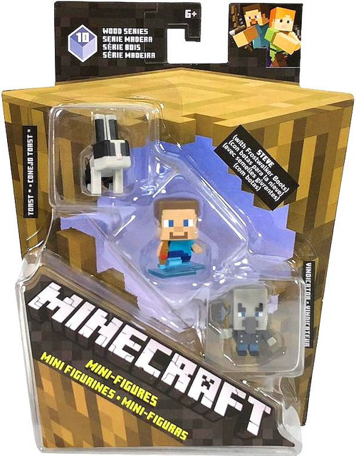 Minecraft Wood Series 10 Toast, Steve, & Vindicator Mini Figure 3-Pack