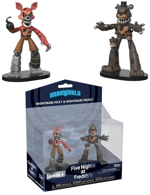 Funko Five Nights at Freddy's Hero World Series 2 Nightmare Foxy & Nightmare Freddy Exclusive 4-Inch Vinyl Figure 2-Pack