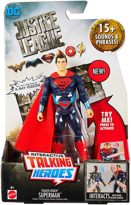 DC Justice League Movie Interactive Talking Heroes Stealth Attack Superman Deluxe Action Figure