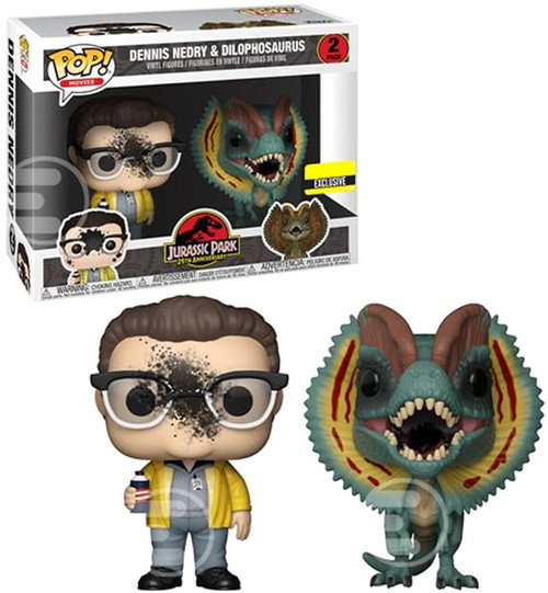 Funko Jurassic Park POP! Movies Dennis Nedry & Dilophosaurus Exclusive 2-Pack Vinyl Figure [Goo Splattered]