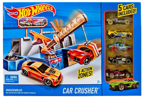 Hot Wheels Car Crusher Die-Cast Car Playset [Includes 5 Cars]