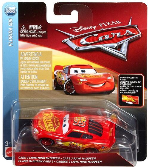 Disney / Pixar Cars Florida 500 Cars 3 Lightning McQueen Diecast Car [Bonus Collector Card]