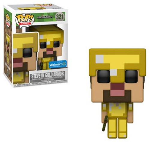 Funko Minecraft POP! Video Games Steve in Gold Armor Exclusive Vinyl Figure #321