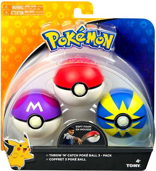 Pokemon Throw n Catch Master, Poke & Quick Poke Ball 3-Pack