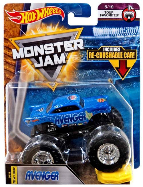 Hot Wheels Monster Jam 25 Avenger Diecast Car #5/19 [Tour Favorites, Crushable Car]