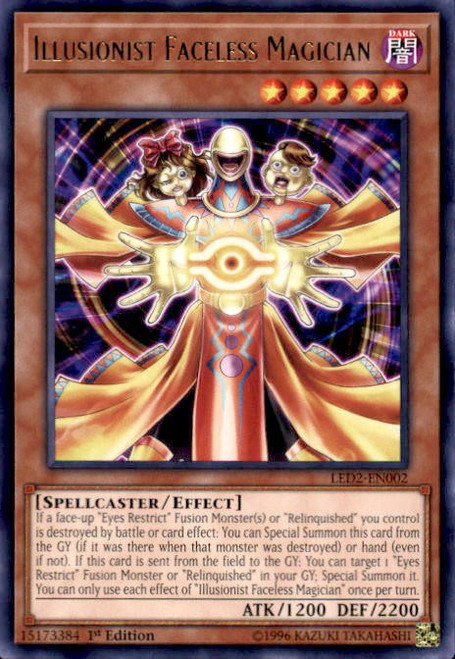 YuGiOh Legendary Duelists: Ancient Millennium Rare Illusionist Faceless Magician LED2-EN002