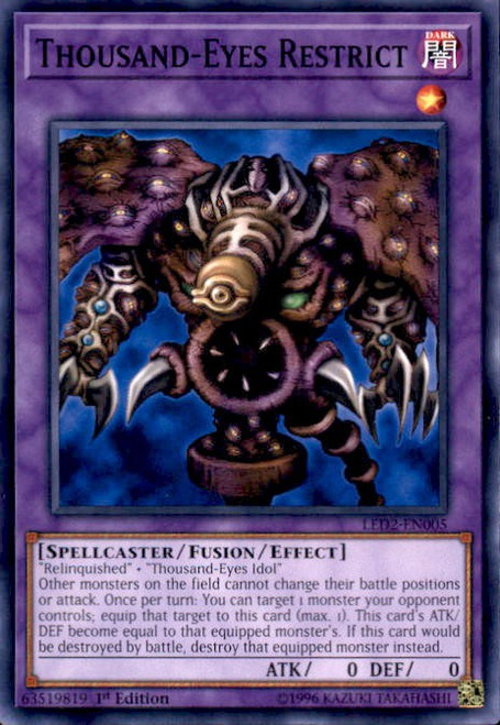 YuGiOh Legendary Duelists: Ancient Millennium Common Thousand-Eyes Restrict LED2-EN005