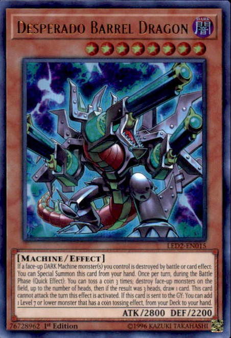 YuGiOh Legendary Duelists: Ancient Millennium Ultra Rare Desperado Barrel Dragon LED2-EN015