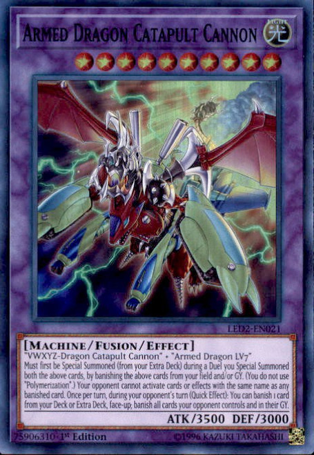 YuGiOh Legendary Duelists: Ancient Millennium Super Rare Armed Dragon Catapult Cannon LED2-EN021