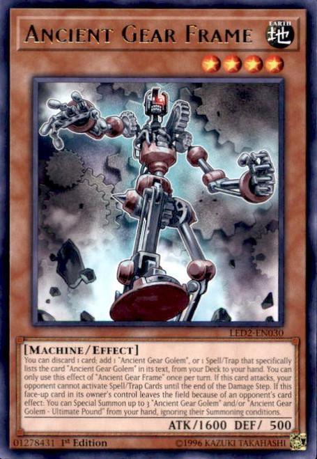 YuGiOh Legendary Duelists: Ancient Millennium Rare Ancient Gear Frame LED2-EN030