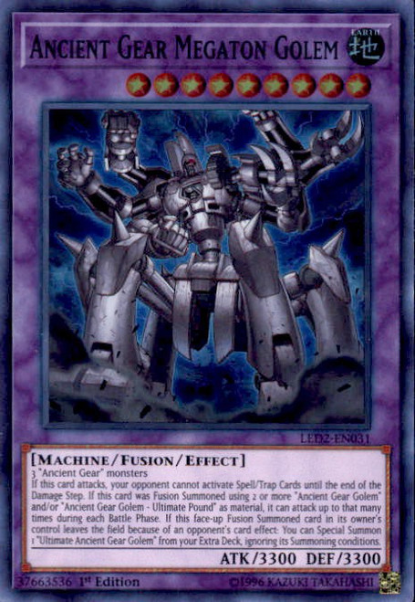 YuGiOh Legendary Duelists: Ancient Millennium Super Rare Ancient Gear Megaton Golem LED2-EN031
