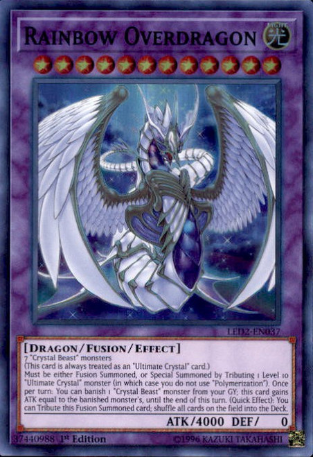 YuGiOh Legendary Duelists: Ancient Millennium Super Rare Rainbow Overdragon LED2-EN037