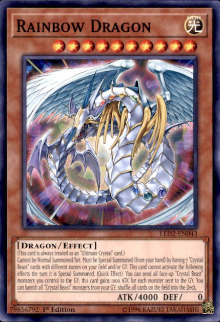 YuGiOh Legendary Duelists: Ancient Millennium Common Rainbow Dragon LED2-EN043