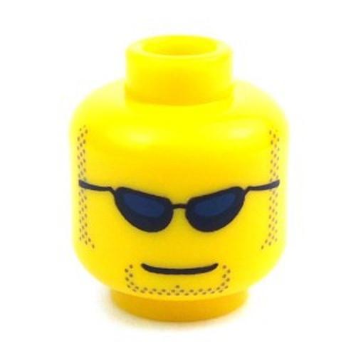 Sunglasses & Stubble Minifigure Head [Yellow Loose]