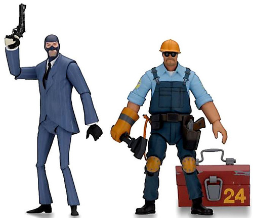 NECA Team Fortress 2 BLU Series 3.5 Spy & The Engineer Set of Both Action Figures