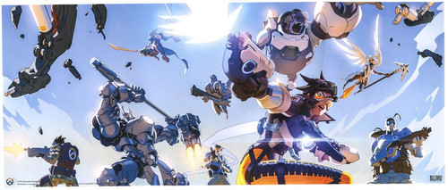 Overwatch Tracer, Winston & Reinhardt Attacking 15.75-Inch Mini-Poster [Loose]