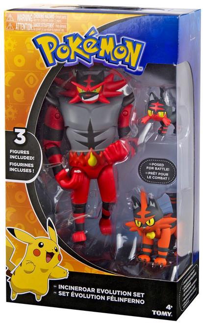 Pokemon Evolution Set Incineroar, Torracat & Litten Exclusive Figure 3-Pack
