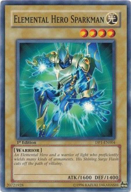 YuGiOh GX Trading Card Game Duelist Pack Jaden Yuki Common Elemental Hero Sparkman DP1-EN004