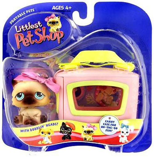 Littlest Pet Shop Portable Pets Persian Cat Figure [Maroon Bow & Carry Case]