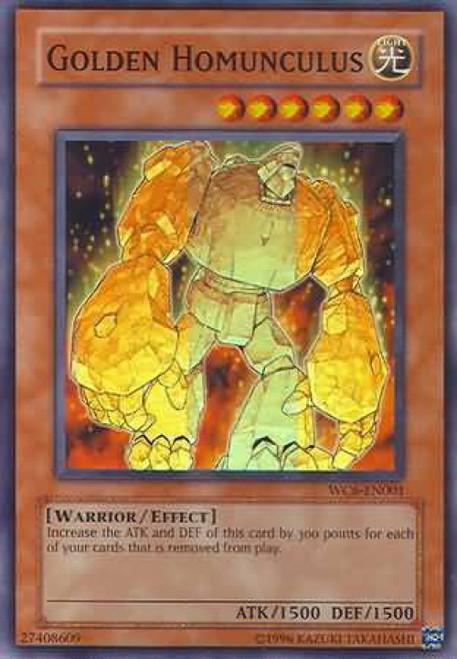 YuGiOh GX Trading Card Game Ultimate Masters Super Rare Golden Homunculus WC6-EN001
